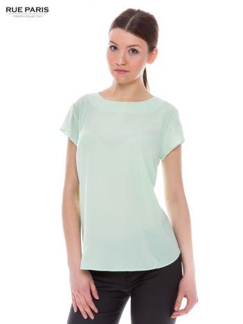 Jasnozielona zwiewna koszula z dłuższym tyłem