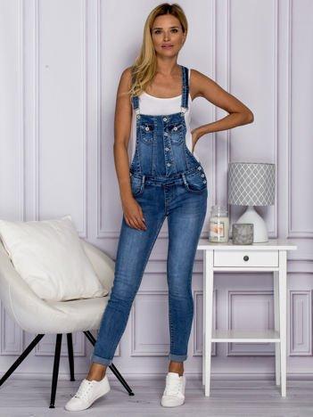 Jeansowe spodnie ogrodniczki z napami niebieskie
