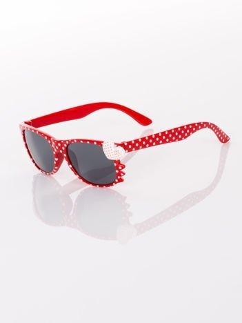 KOTEK Z SERCEM Dziecięce czerwone okulary typu WAYFARER w kropki z filtrami