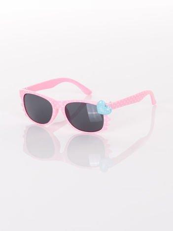 KOTEK Z SERCEM Dziecięce jasno-różowe okulary typu WAYFARER w kropki z filtrami