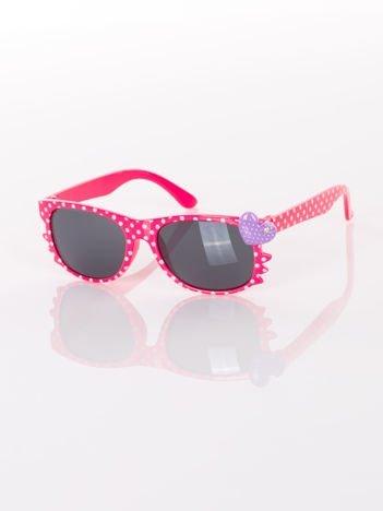 KOTEK Z SERCEM Dziecięce różowe okulary typu WAYFARER w kropki z filtrami
