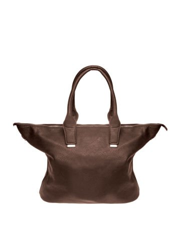 Kawowa torba shopper bag ze złotymi detalami