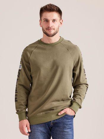 Khaki bluza męska z napisem na rękawach