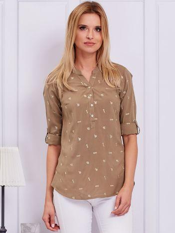 Khaki bluzka w drobne haftowane wzory