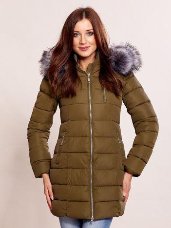Khaki kurtka zimowa z futrzanym kołnierzem