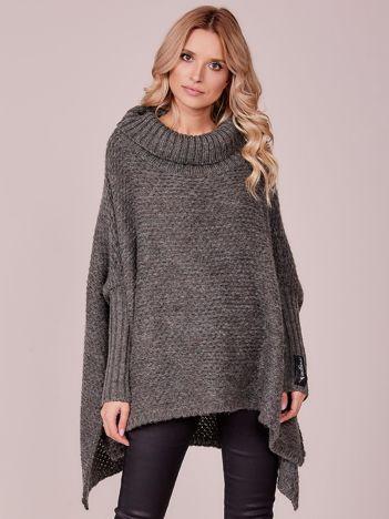 Khaki luźny sweter z golfem MAGPIE