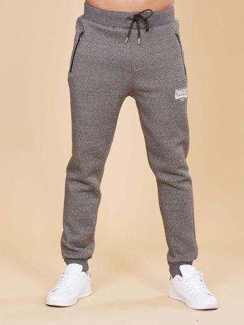 Khaki ocieplane spodnie dresowe męskie