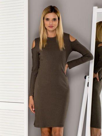 Khaki prążkowana sukienka z wycięciami