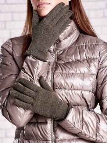 Khaki rękawiczki z błyszczącą nicią z wywijanym mankietem