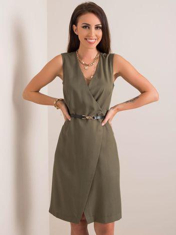 Khaki sukienka Safari RUE PARIS
