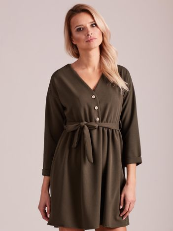 Khaki sukienka z paskiem