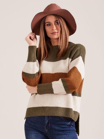 Khaki sweter damski w paski