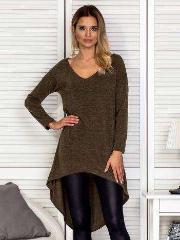Khaki sweter z dłuższym tyłem