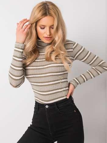 Khaki sweter z golfem Jocelyn RUE PARIS