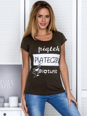 Khaki t-shirt damski PIĄTEK PIĄTECZEK