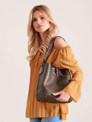 Khaki torba na ramię z łańcuszkiem