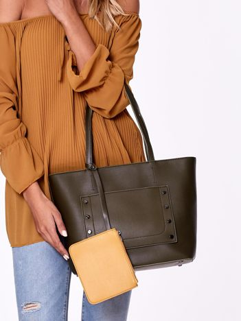 Khaki torba shopper bag z ozdobną kieszenią