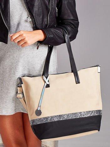 Khaki torba z brokatowym paskiem