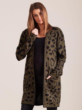 Khaki wzorzysty sweter damski