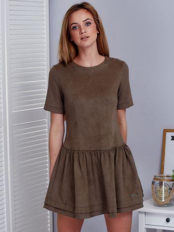 Khaki zamszowa sukienka