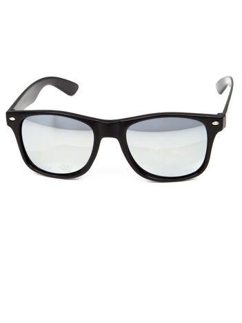 Klasyczne okulary w stylu WAYFARER unisex SREBRNE LUSTRZANKI oprawki połysk