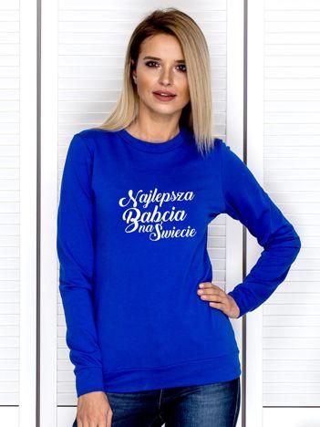 Kobaltowa bluza NAJLEPSZA BABCIA NA ŚWIECIE