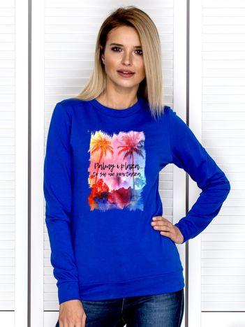 Kobaltowa bluza damska PALMY I PLAŻA by Markus P