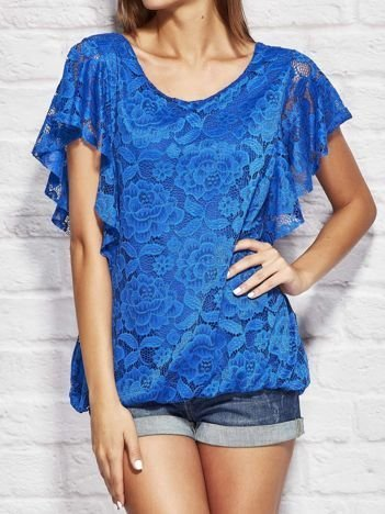 Kobaltowa koronkowa bluzka damska