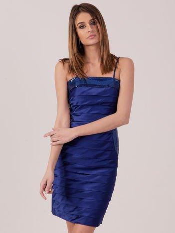 Kobaltowa sukienka z cekinowymi modułami