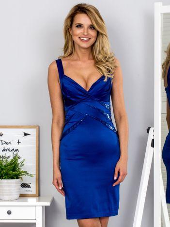 Kobaltowa sukienka z cekinowymi wstawkami