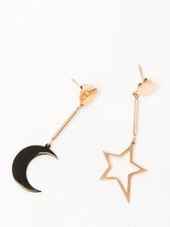 Kolczyki damskie wiszące z księżycem i gwiazdą pozłacane 14-karatowym złotem