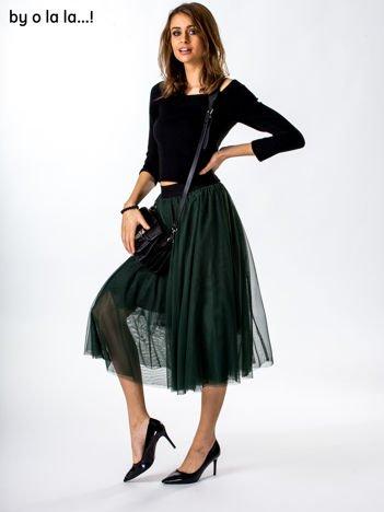 Komplet ciemnozielony bluzka i spódnica BY O LA LA