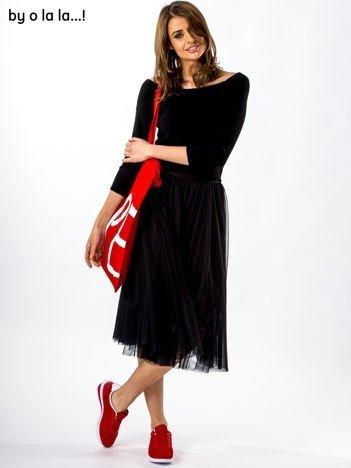 Komplet czarny bluzka i spódnica BY O LA LA