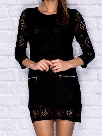 Koronkowa sukienka koktajlowa z suwakami czarna
