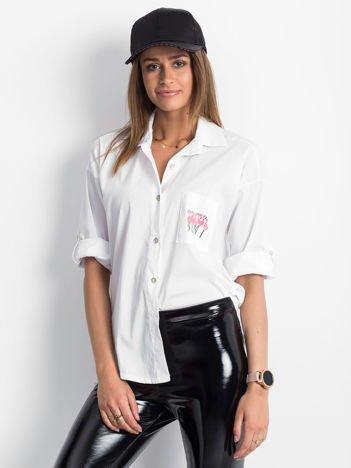 Koszula biała z nadrukiem flamingów