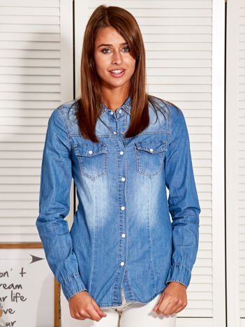 Koszula damska z ozdobnym kołnierzykiem niebieska
