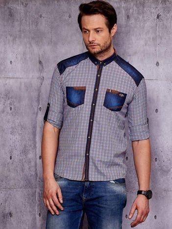 Koszula męska w kratkę z podwijanymi rękawami