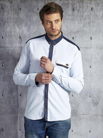 Koszula męska z kontrastowymi wstawkami jasnoniebieska