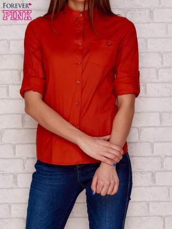 Koszula w drobne groszki z kieszonką pomarańczowa