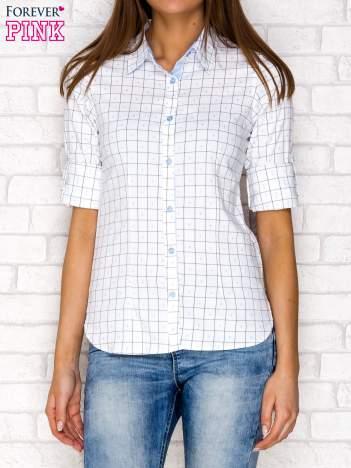 Koszula w kratę z drobnym wzorem niebieska