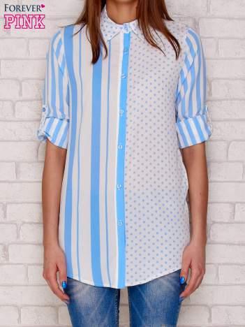 Koszula w paski i kropki jasnoniebieska