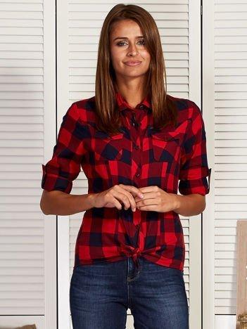 Koszula z motywem kratki czerwono-granatowa