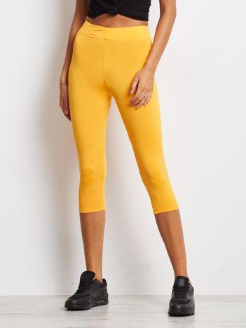 Krótkie cienkie legginsy do biegania pomarańczowe