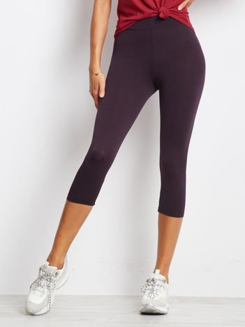 Krótkie cienkie legginsy sportowe ciemnofioletowe