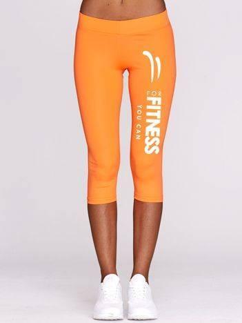 Krótkie kryjące legginsy do fitnessu z nadrukiem fluo pomarańczowe