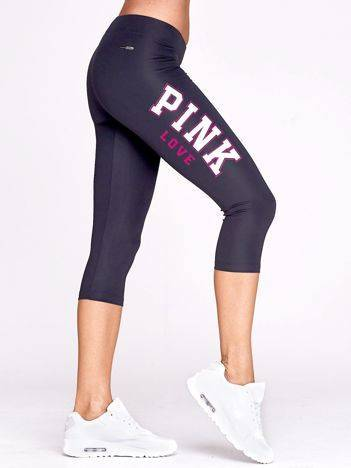 Krótkie legginsy do biegania z napisem PINK LOVE grafitowe
