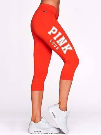 Krótkie legginsy fitness z nadrukiem PINK LOVE ciemnopomarańczowe