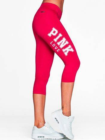 Krótkie legginsy fitness z nadrukiem PINK LOVE fuksjowe
