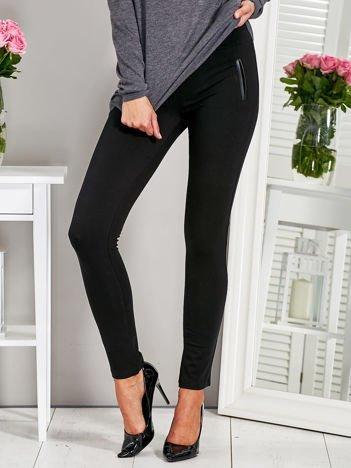 Kryjące legginsy z wykończeniem z ekoskóry czarne