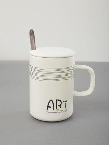 Kubek biały ceramiczny z pokrywką
